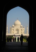 Visitors entering Taj Mahal