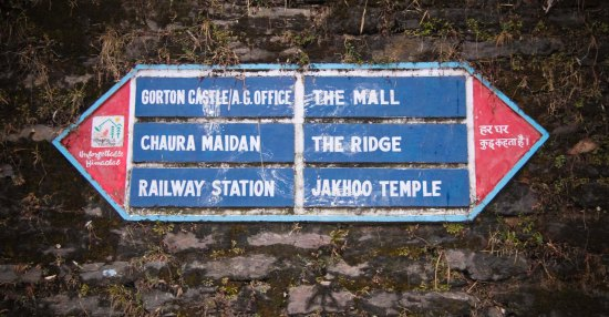 Shimla Mall Road Sign
